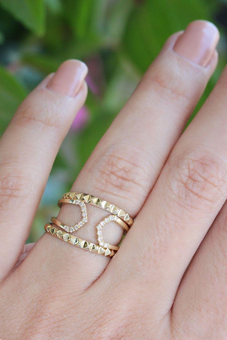 Pyramid Ring Womens Wedding Band 14K Gold Ring Delicate Ring