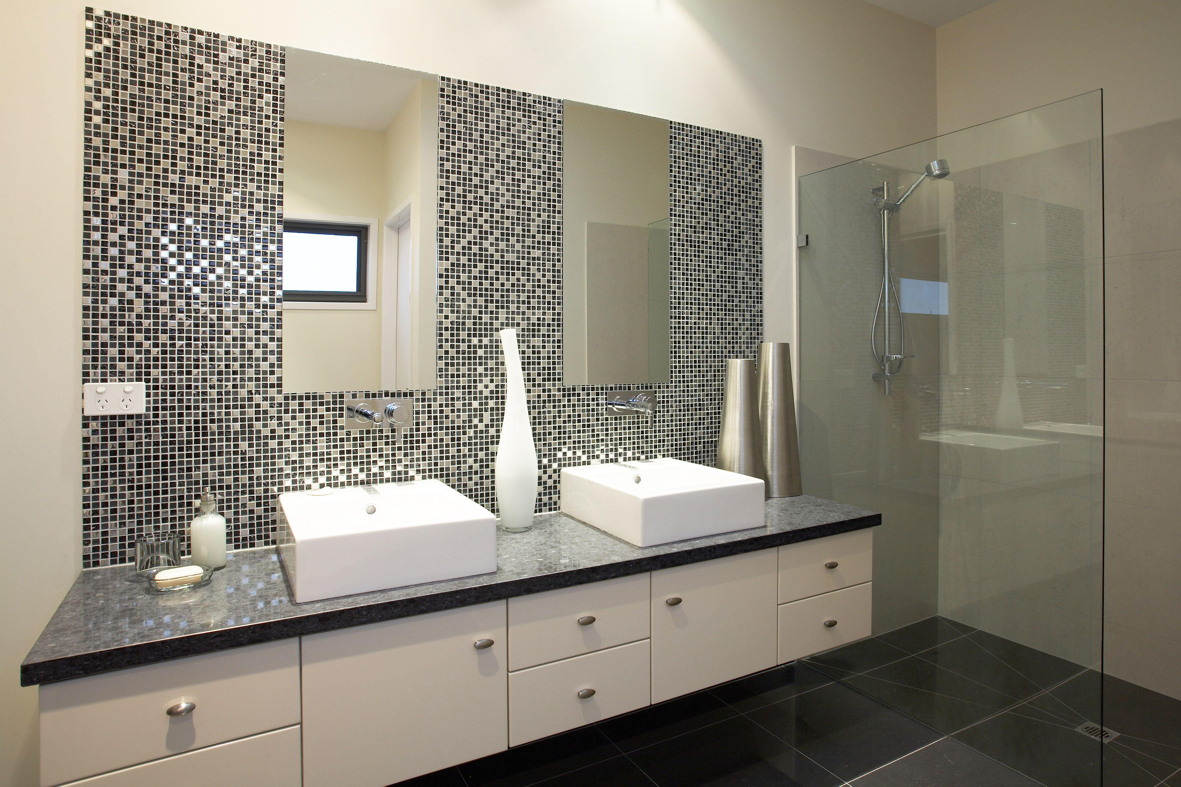 metallic bathroom tile idea. ensuite in the hotondo homes