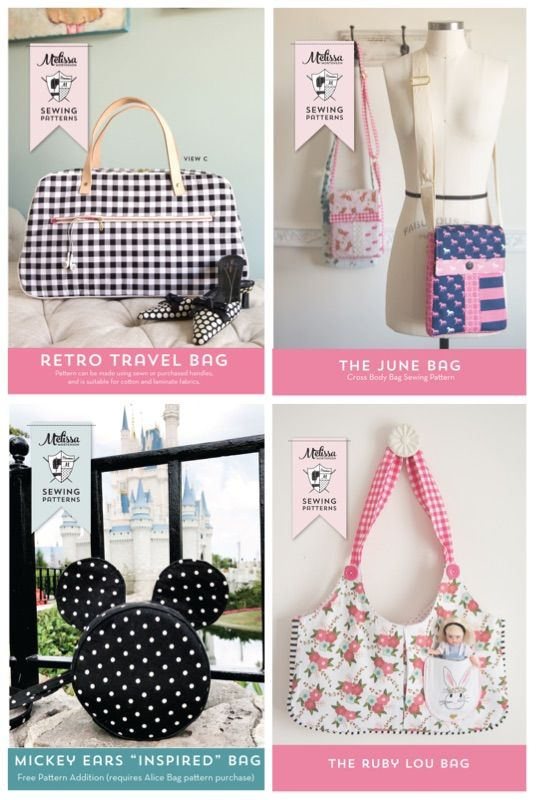 ec7de4220168 Really cute and easy to make bag and purse sewing patterns. Love the Mickey  Mouse bag!