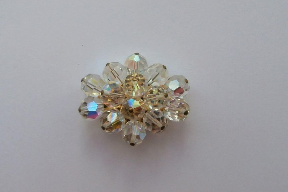 Vintage Late 1950 s (Approx) Reflective Facetted Crystal Glass Bead Dress Brooch
