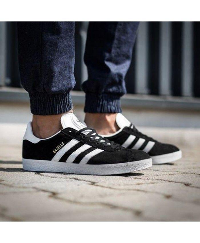 Mens Adidas Gazelle Black Gold White Trainer