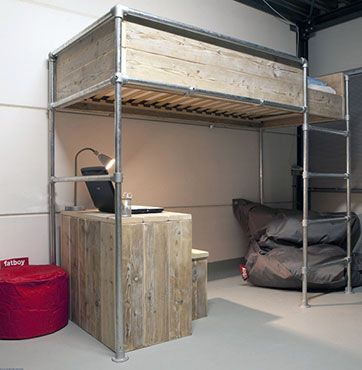 loft pipe bed frame black pipes and maybe not the high wood surround maybe - High Bed Frames