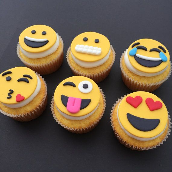 12 Emoji Cupcake Toppers-Fondant by bakerslovebakery on Etsy