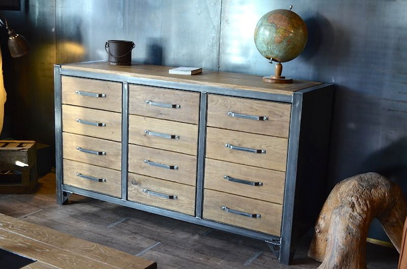 Bahut industriel 3 portes bois métal - Meuble style industriel - meuble de rangement avec tiroir