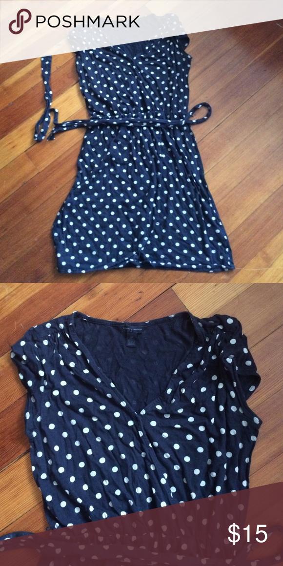 Tommy Hilfiger dress navy polka dot belted cute Good used condition Tommy Hilfiger Dresses