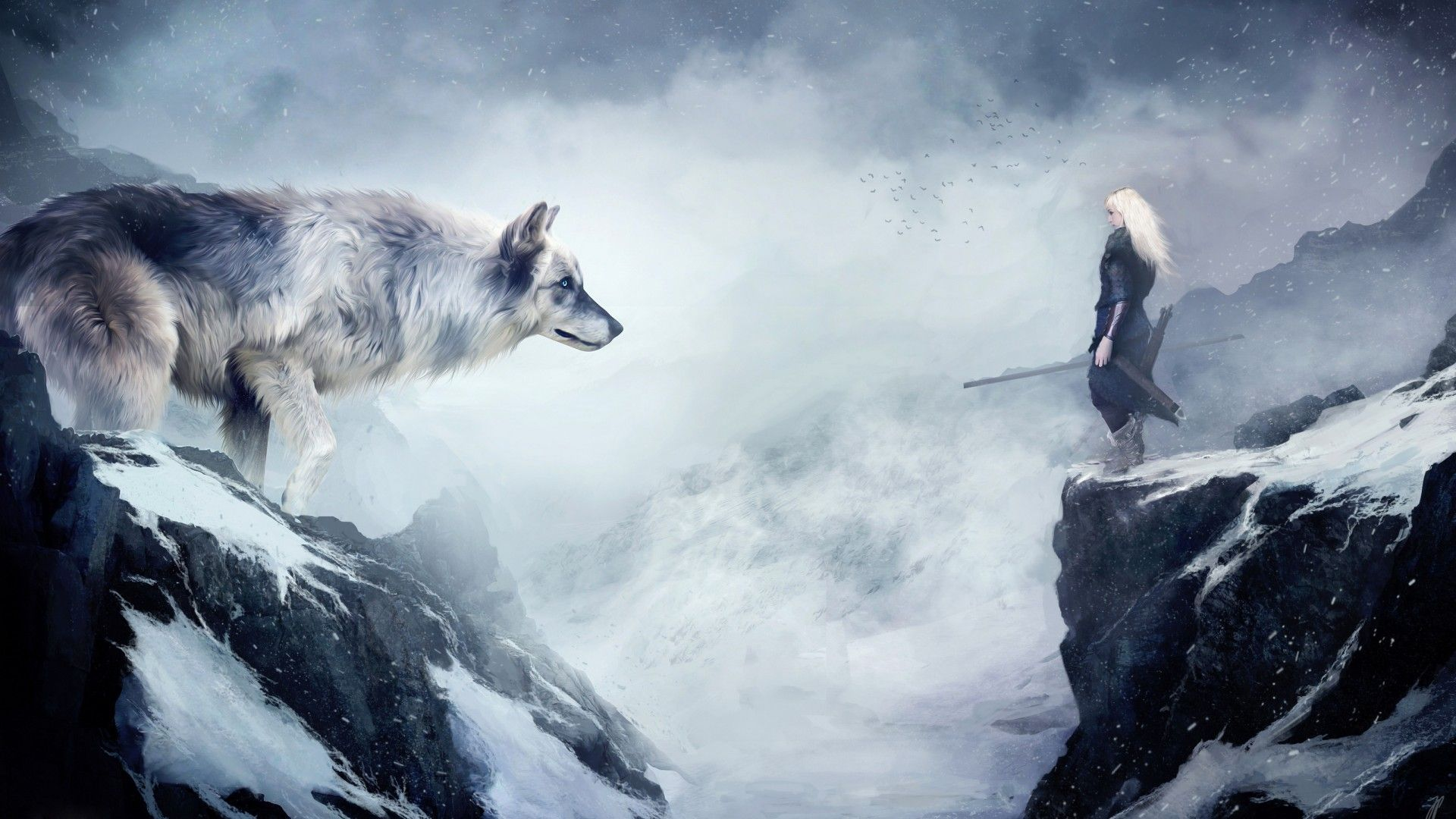 Wallpaper Wolf 4k Hd Wallpaper Mountain Girl Animals Winter Drawing Snow Fantasy Art Os 937 Fantasy Wolf Wolf Wallpaper Wolf Warriors