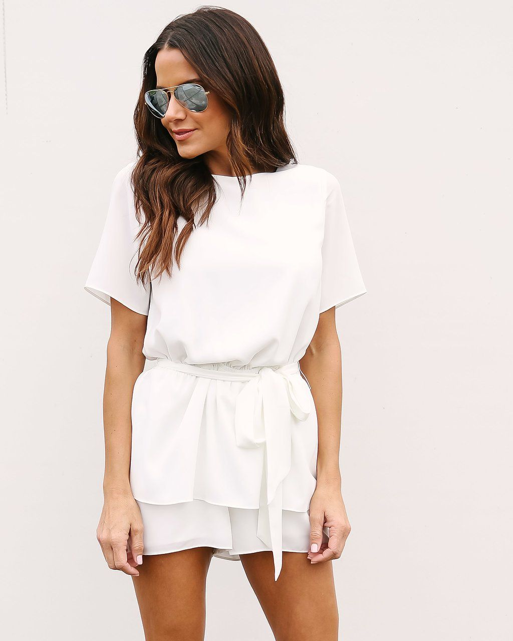 5347800283b For Keeps Tie Romper - Off White White Romper Outfit