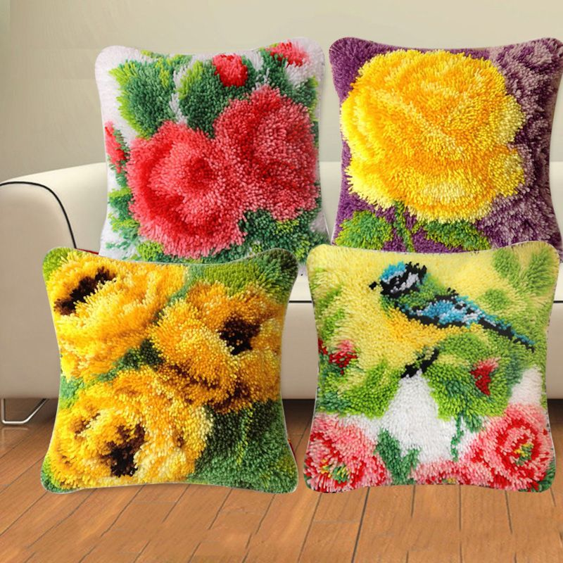 DIY Floral Latch Hook Rug Making kits Embroidery Pillow Sofa Cushion 40x40cm