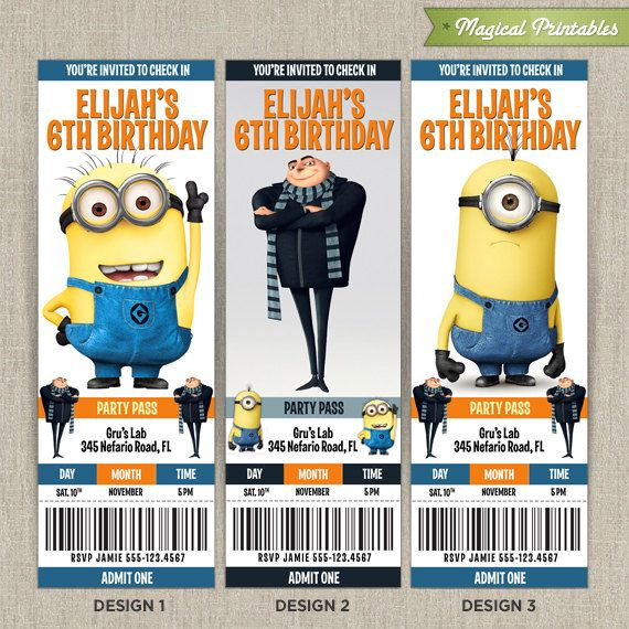 Personalized Despicable Me Birthday Ticket Invitation Card (Choose 3 designs at NO extra charge)