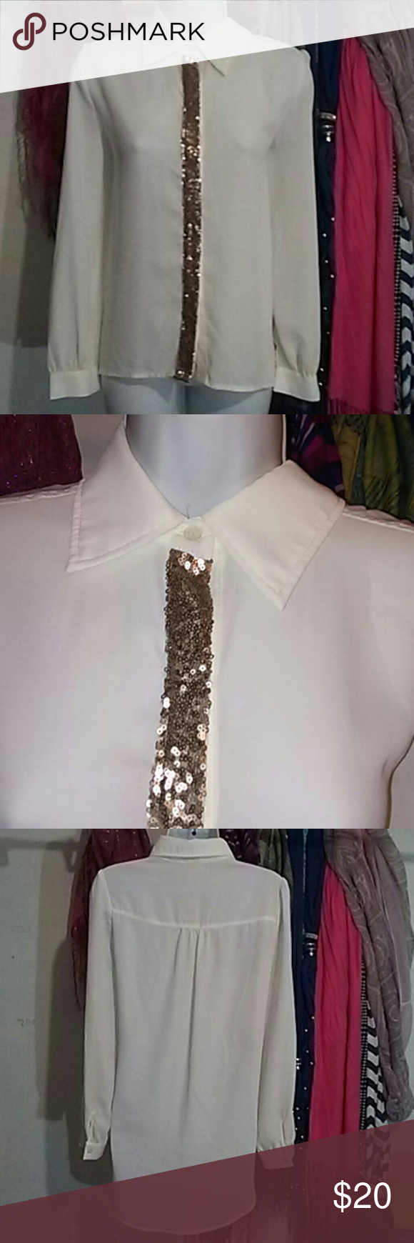 "❗MAKE OFFER!❗Chiffon High-Low Blouse by Tobi Nwot. Has copper colored sequins alongside the buttons.  In new condition.  High-low. 100% Polyester   Measurements:  Bust: 19"" Length from shoulder to bottom: Front length; 24""  Back length from the center is 32"" Tobi Tops Blouses"