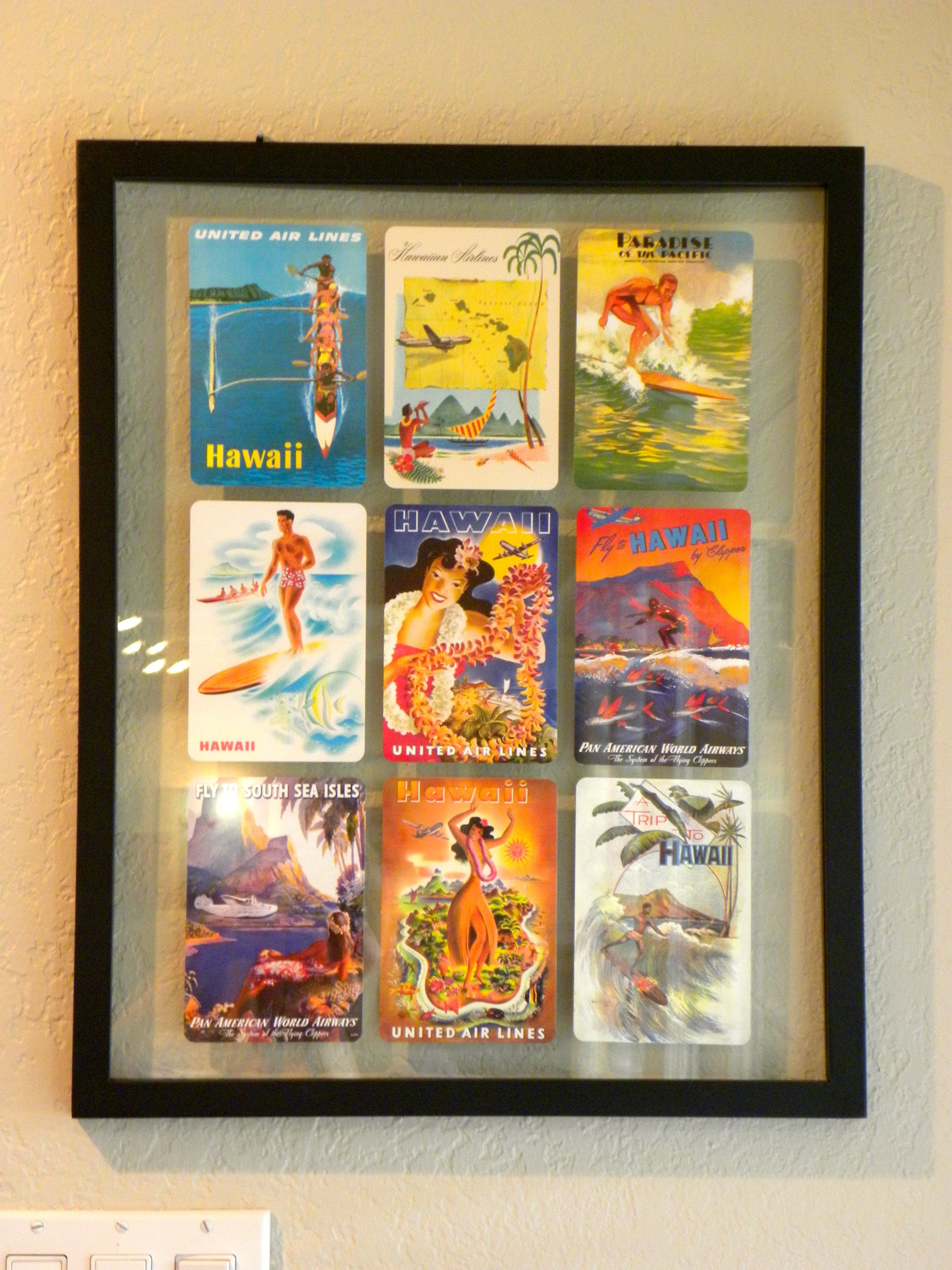 Diy Postcard Wall Art I Ve Seen So Many Great Ideas For Displaying Postcards Here Is What I Came Vintage Postcard Display Postcard Display Hawaiian Wall Art