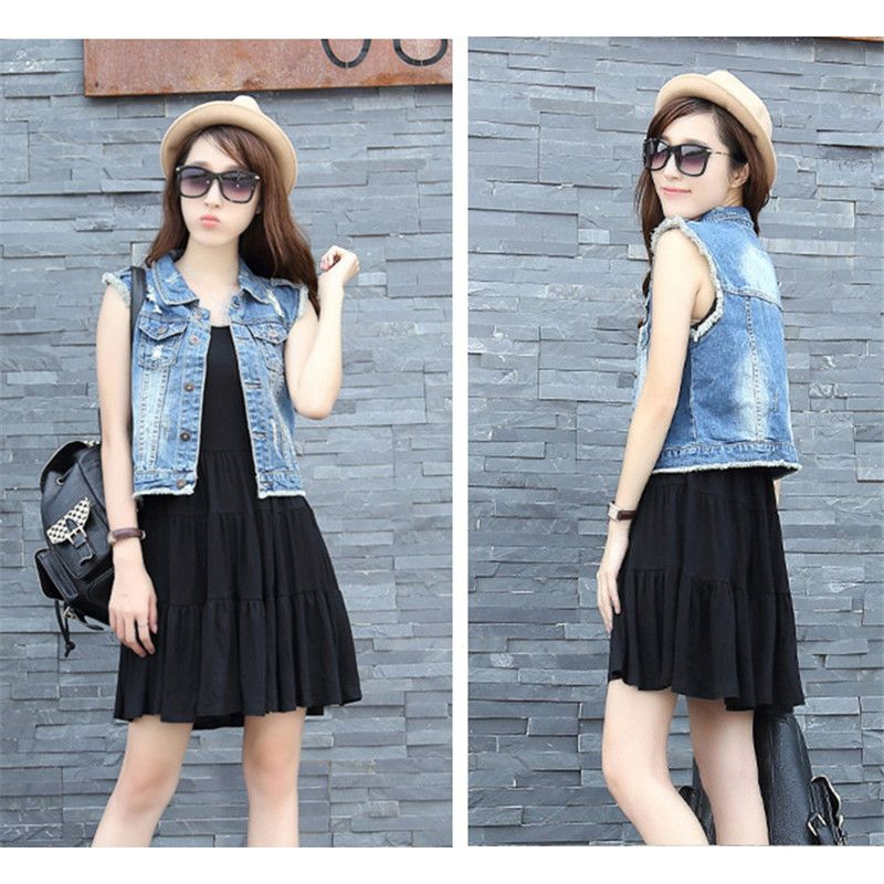728e1ddb5e9d Plus Size New Fashion Summer Denim Vest Women Vintage Sleeveless Casual  Slim Jeans Vest Hole Short colete feminino