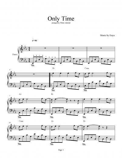 Only Time Enya Piano Plateau Sheet Music Time To Dust Off The