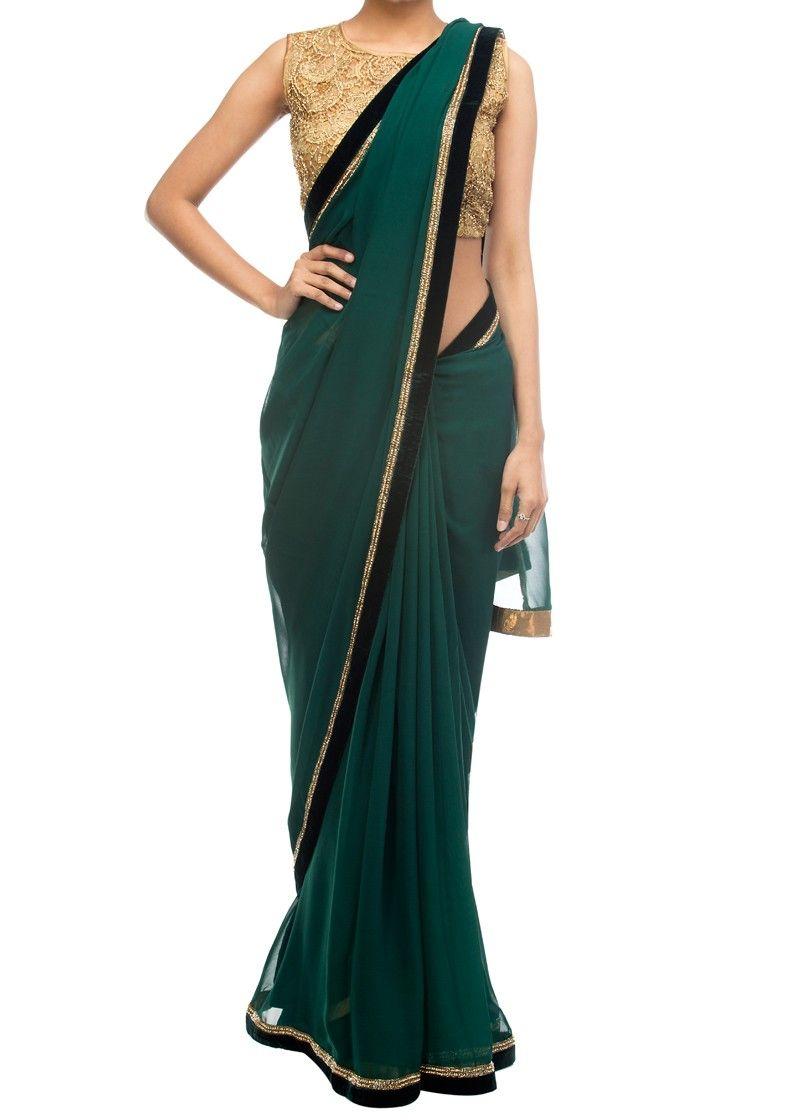 524d3ba3f1f091 Emerald green saree with gold embellished blouse - Sarees - Apparel ...