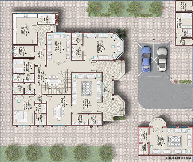 فيلا خليجي 646 متر مربع 6 غرف نوم 1 Arab Arch Model House Plan Square House Plans Drawing House Plans