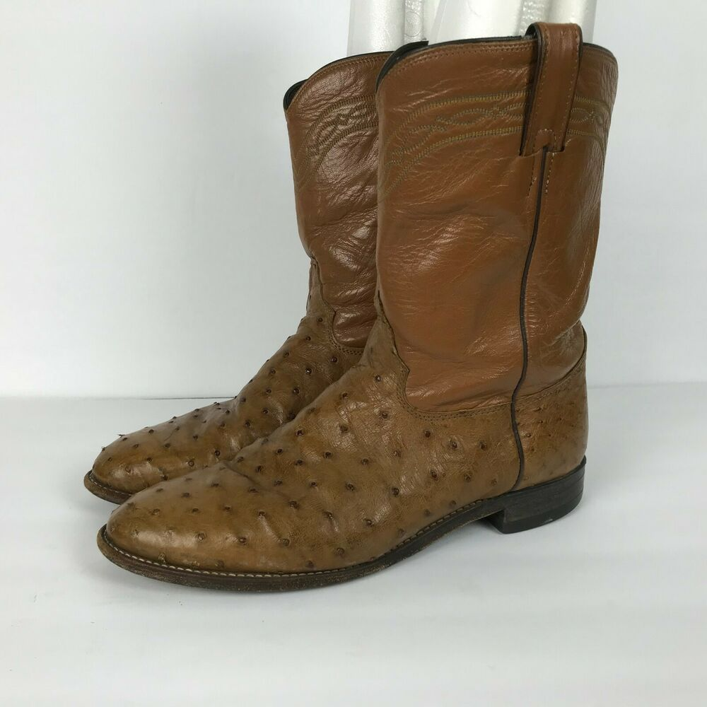 Justin Ostrich Roper Western Cowboy Boots Style 3186 Brown Mens Size 10 1 2 D Justinboots Cowboywestern Boots Cowboy Boots Justin Boots