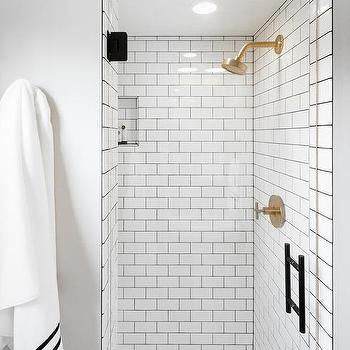 White Tile Bathroom Gray Grout white subway shower tiles with gray grout and brushed gold shower