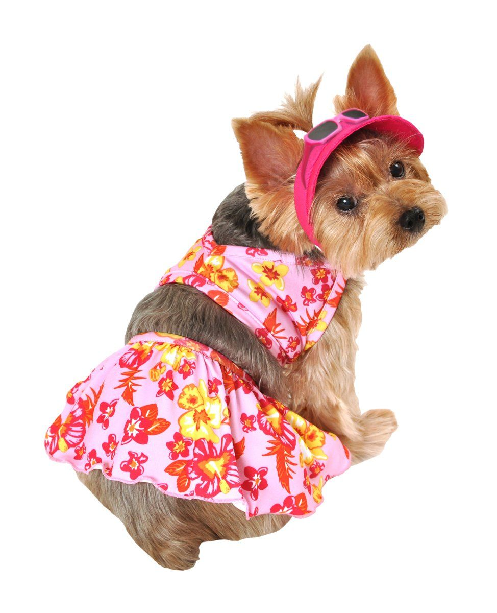 Simplydog Hawaiian Dog Swimming Suit And Hat Set Pets Dogs