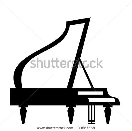grand piano silhouette isolated on white background vector rh pinterest ie grand piano clipart free