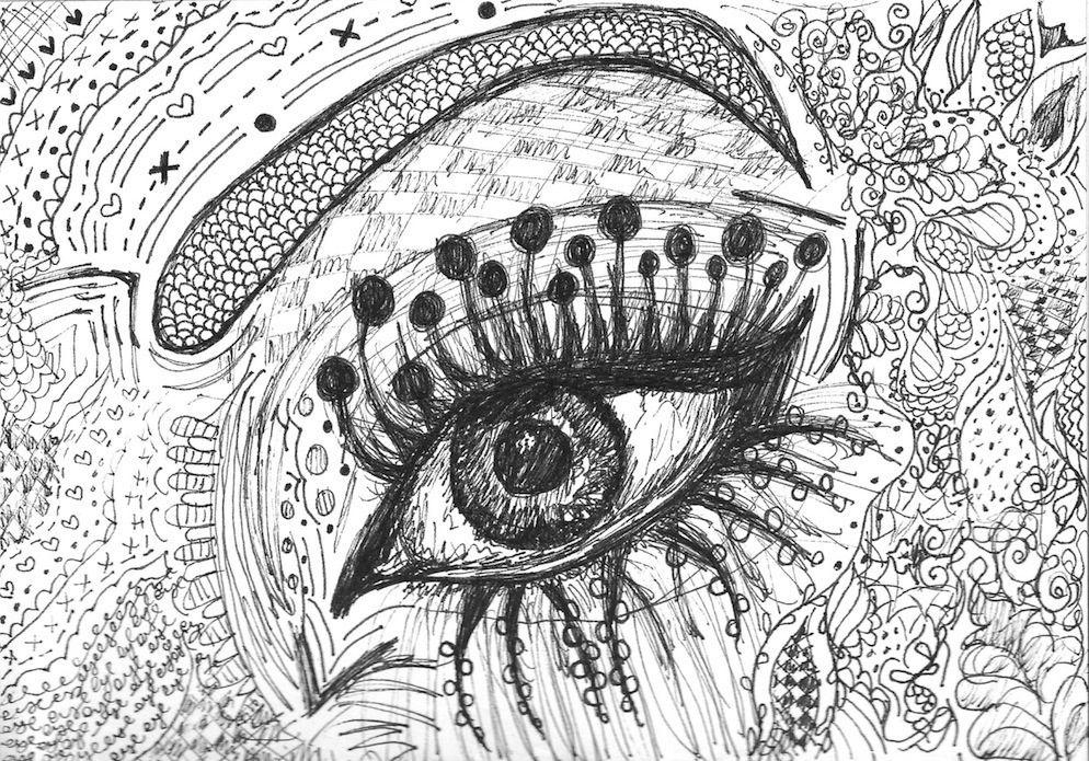 Illustrated Eye Design Drawing Art Eye Illustration Pattern