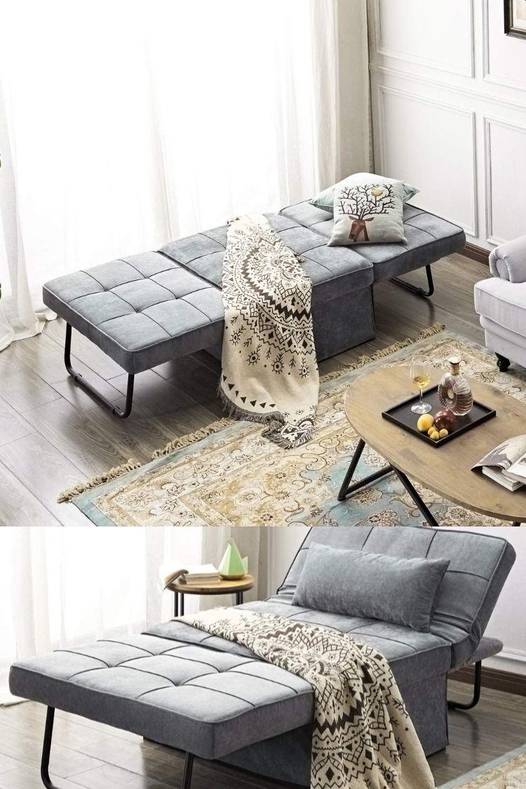 Vonanda Ottoman Folding Chair Bed, Modern Velvet Sleeper ...