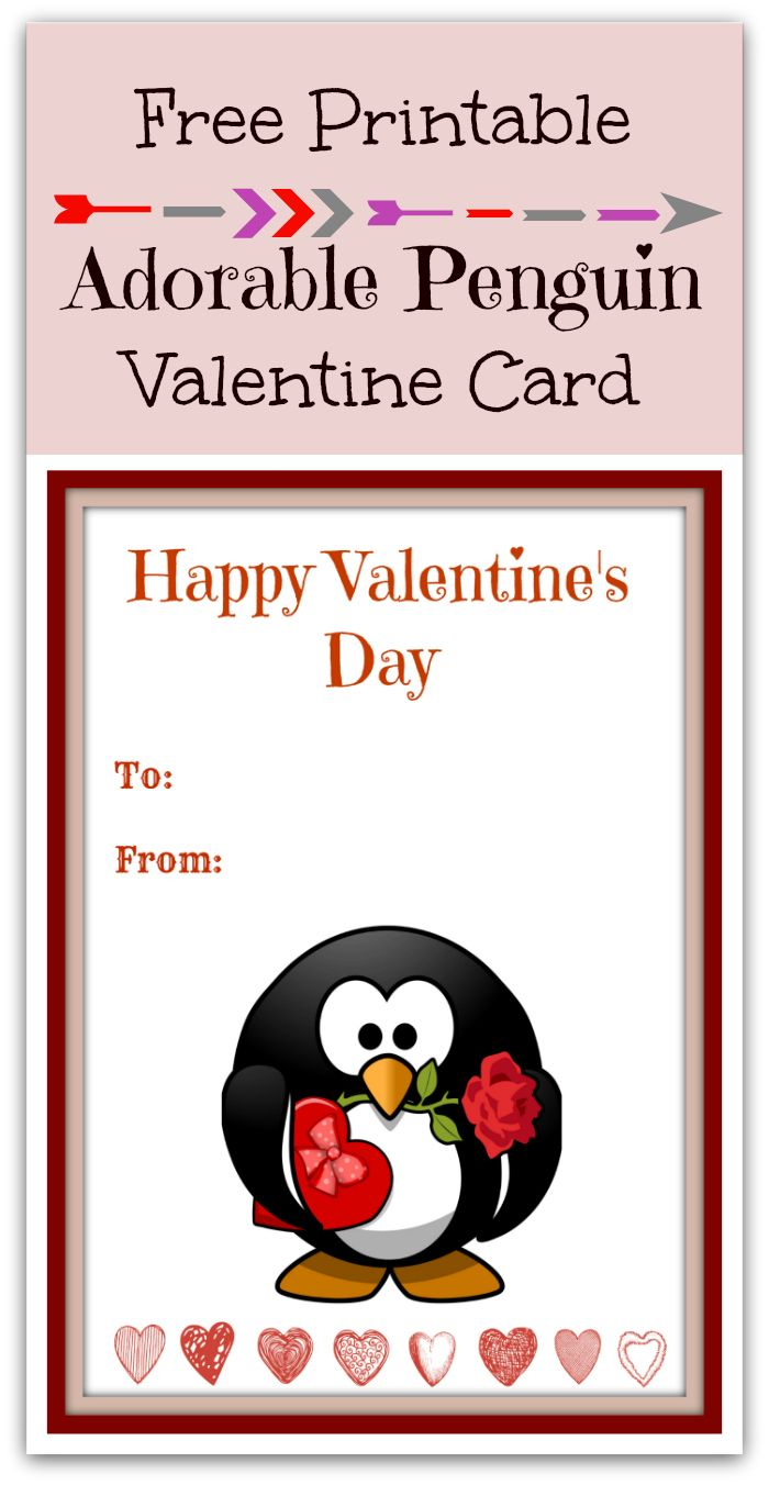 Toll Free Printable Cute Penguin Valentineu0027s Day Card