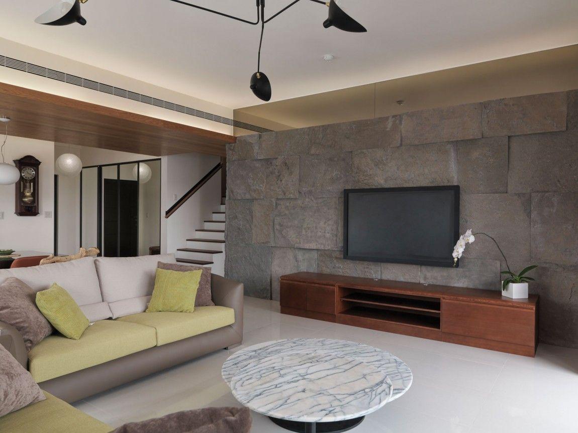 Batu Alam Dinding Tv Wood Ceiling Living Room Tiles Wall