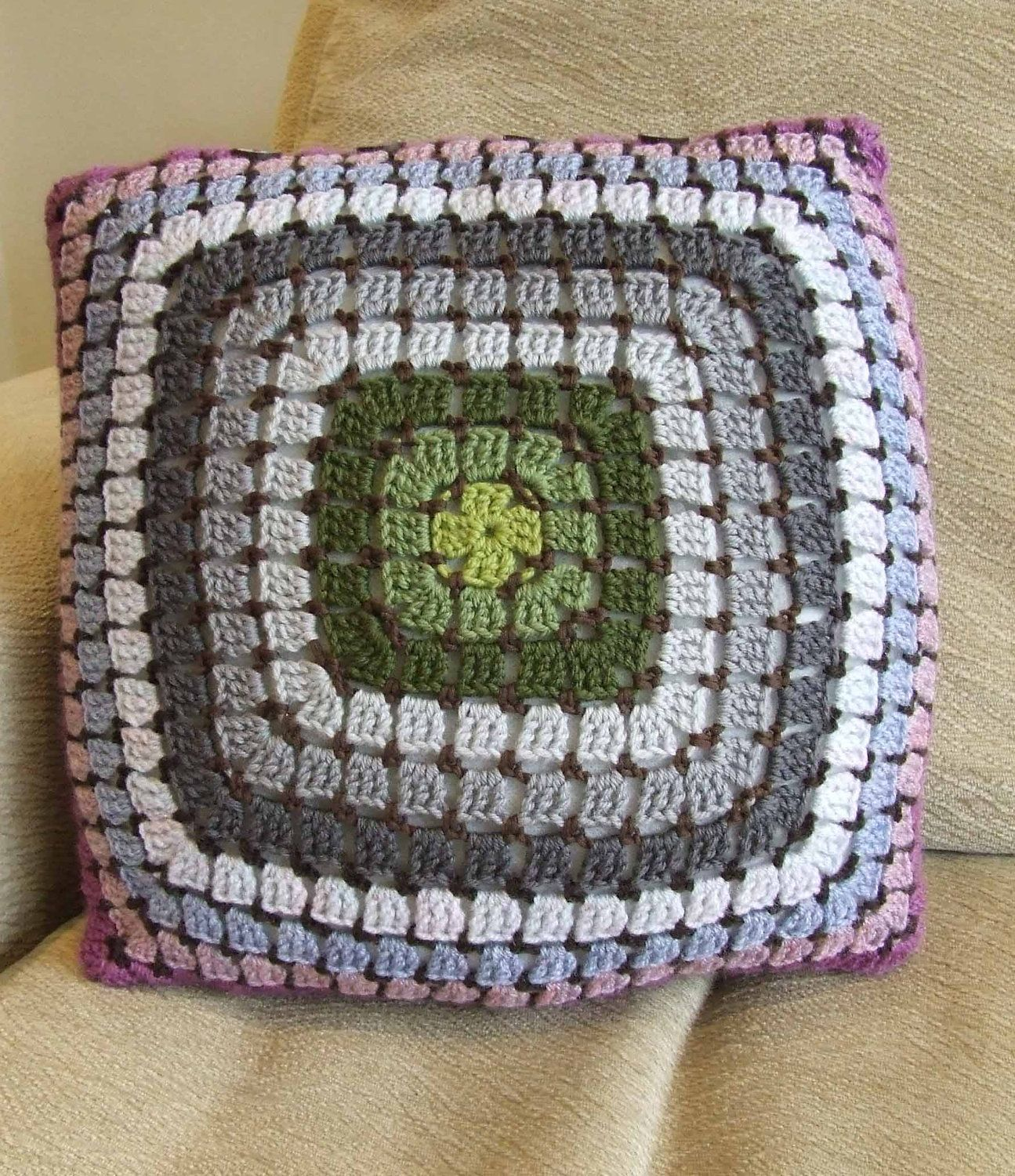 Purple green grey crochet cushion cover from my etsy shop