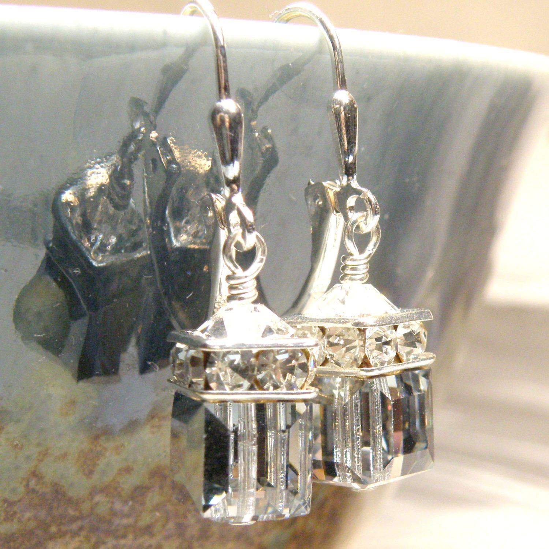 Silver Cube Earrings, Metallic Swarovski Crystal, Sterling