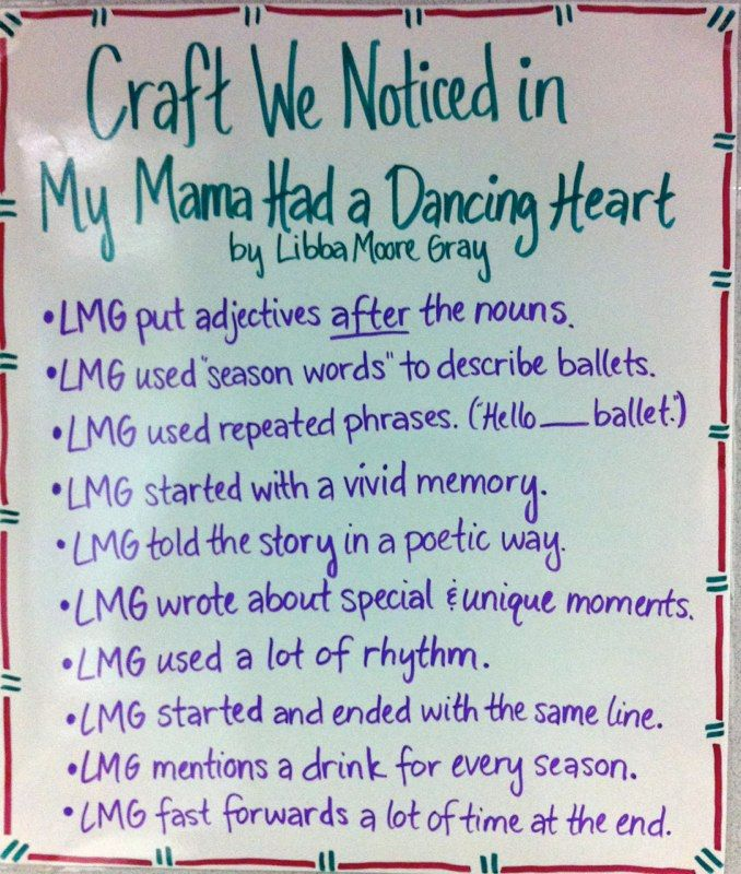 Noticing Writer S Craft In Works Of Literature Anchor Charts