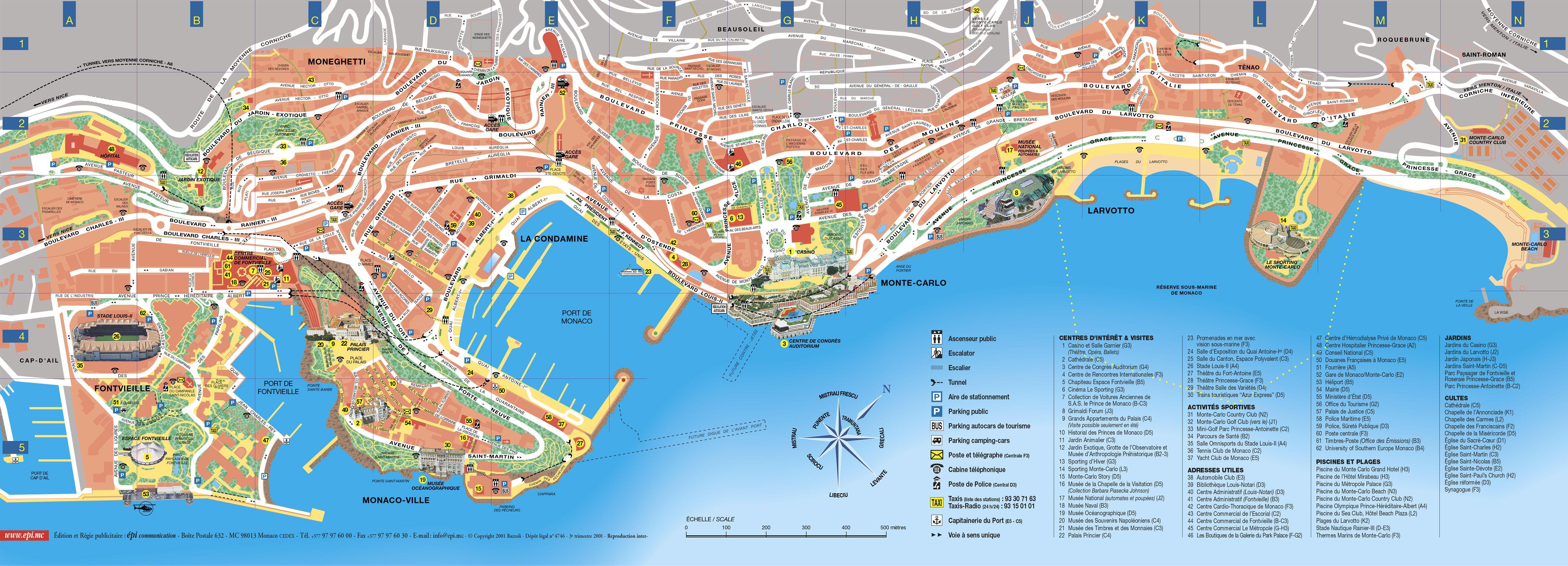 Monaco Italien Karte.Monaco Tourist Map Monaco Mappery Research For Chasing