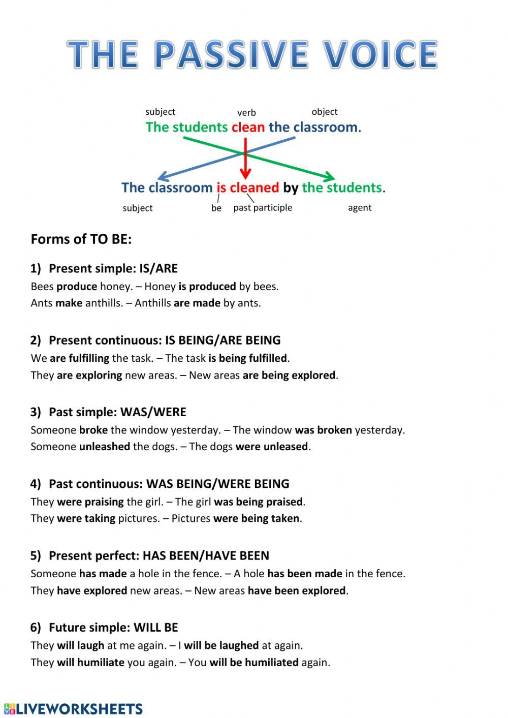 Passive Voice Explanation And Exercise Interactive Worksheet English Grammar Notes Interesting English Words Learn English Words
