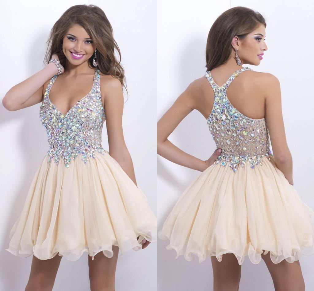 Bling Short Daffodil Homecoming Dresses Shiny Rhinestones A-line ...