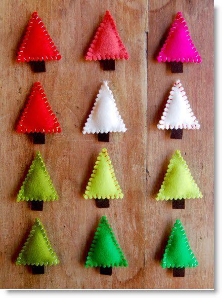 Molly's Sketchbook: Felt Christmas Tree Pins (tutorial) · Felting   CraftGossip.com