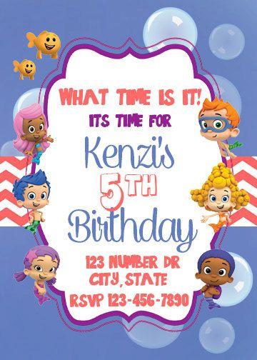 Bubble Guppies invite Birthday Invite Custom by AdelesAccessories ...