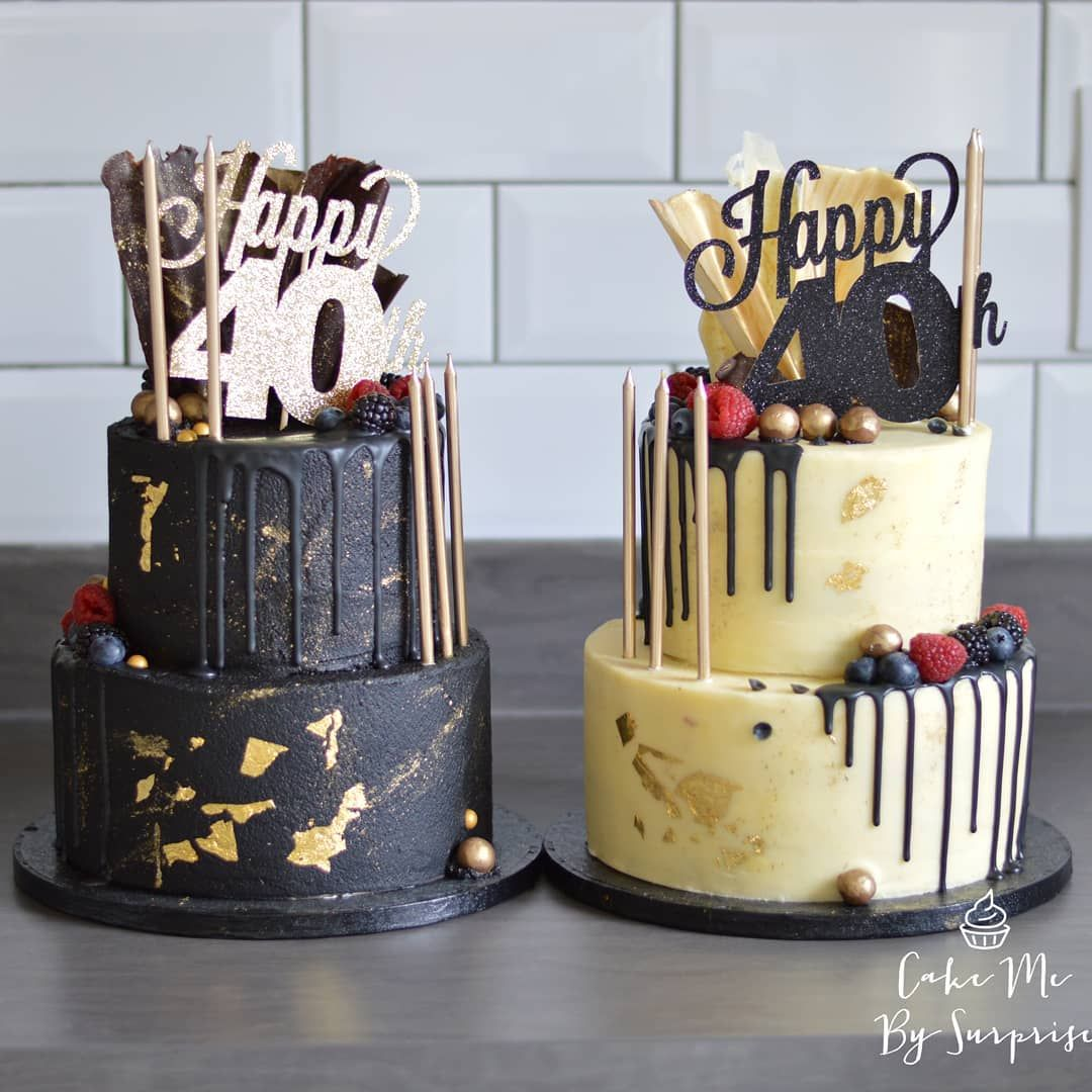 Black And Gold 40th Birthday Chocolate Drip Cake Perfect Galactic