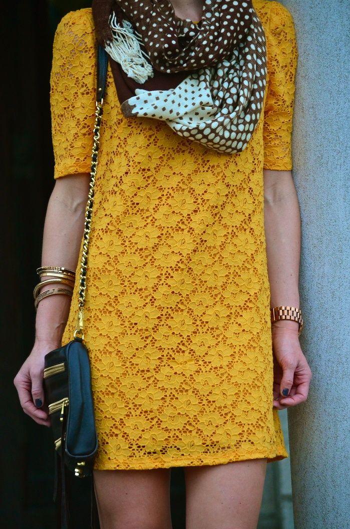 Yellow lace dress & scarf