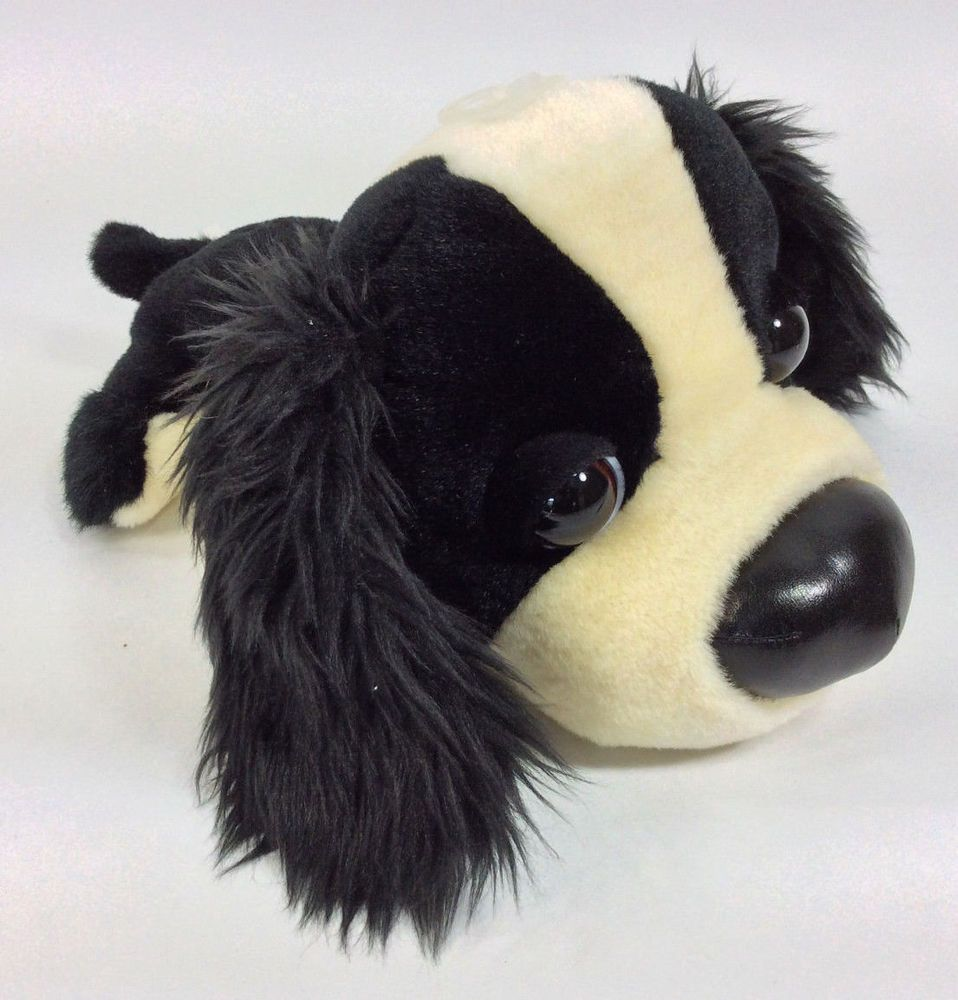 Artlist International Black White Puppy Dog Big Head Plush Stuffed