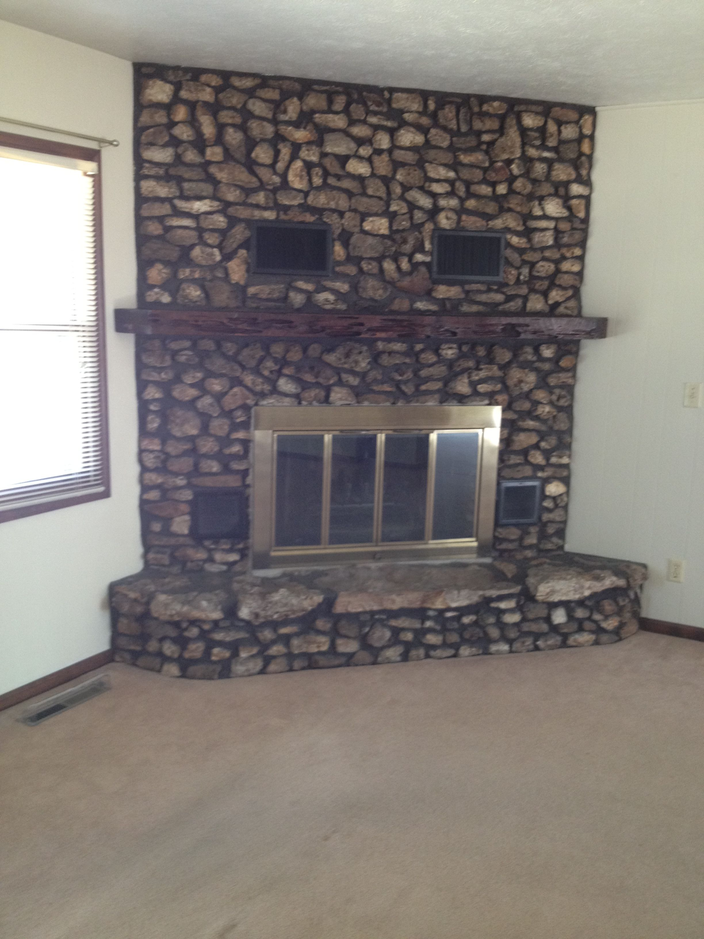 River rock fireplace pictures - Rock Fireplace Thousands Ideas For Interior And Decorating Home