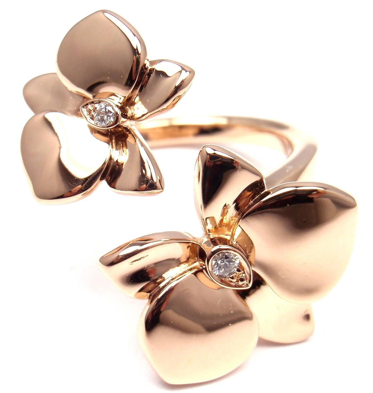 120014c299bda Cartier Caresse D'Orchidées Diamond Gold Orchid Flower Ring in 2019 ...