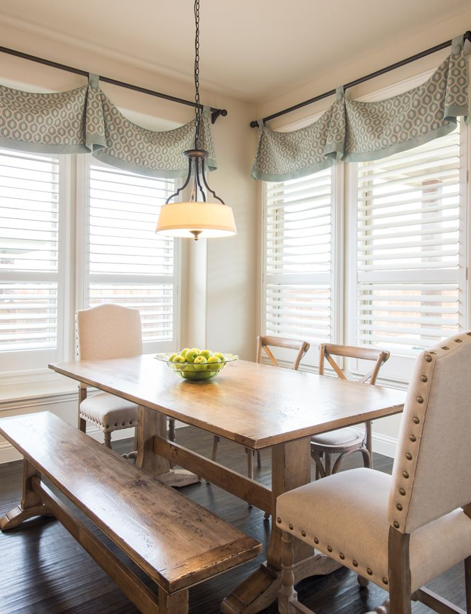 After Having Lived With Tuscan Golds Reds Browns In Their Previous Home This Dalla Dining Room Window Treatments Dining Room Windows Kitchen Window Treatments #window #drapes #for #living #room