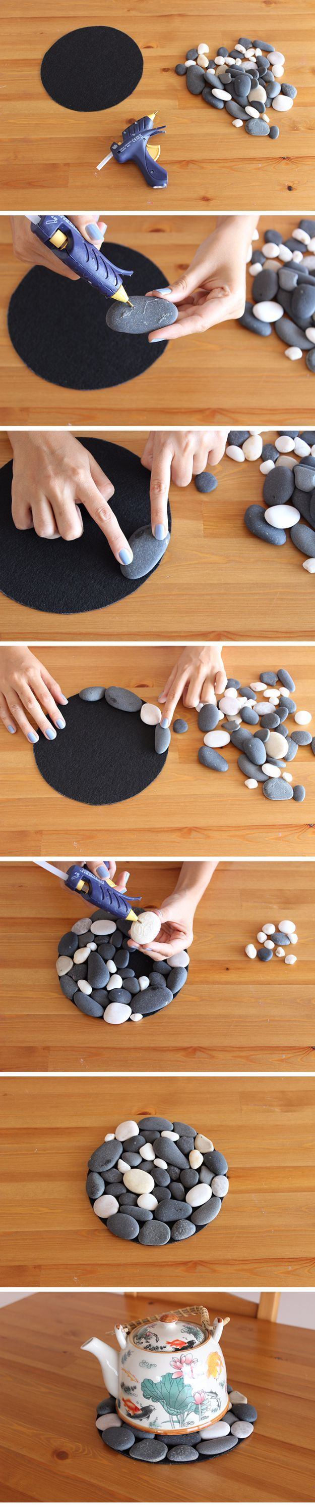 Photo of quick and easy DIY coasters made of stones, ideal gift