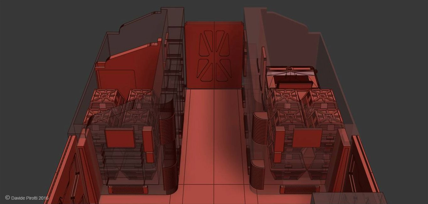 Space 1999 Eagle passenger module wireframe as modelled by Davide Pirotti