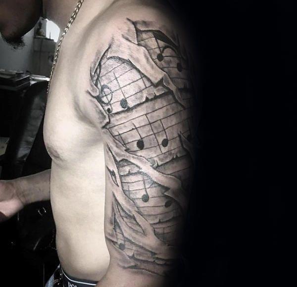 60 Music Sleeve Tattoos For Men Lyrical Ink Design Ideas In 2020 Music Tattoo Sleeves Tattoos For Guys Sleeve Tattoos