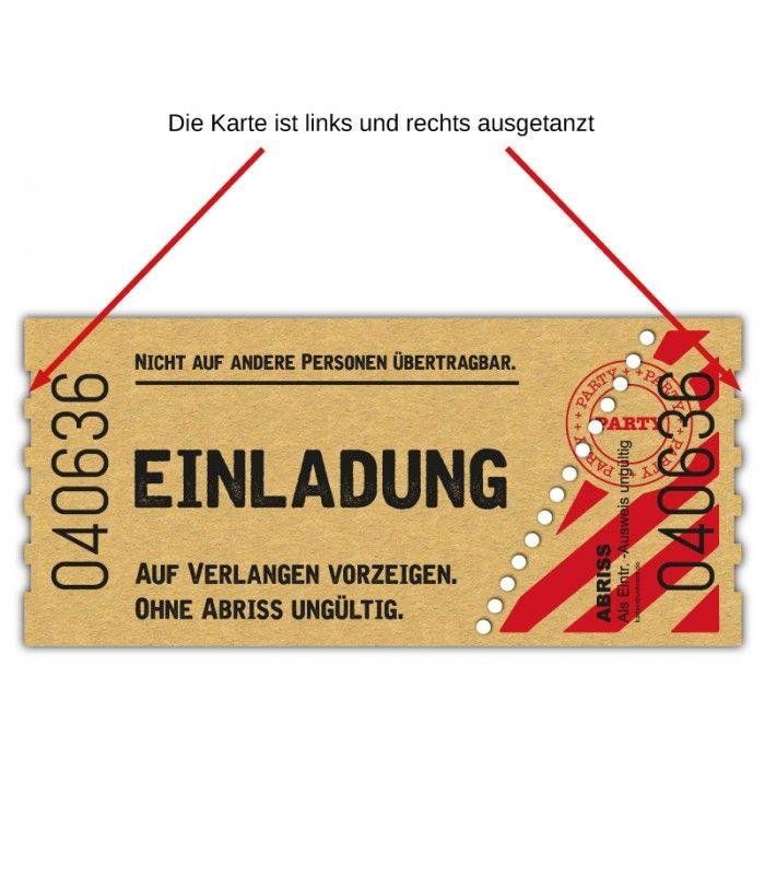 Geburstagseinladung Kinokarte Kinoticket Kinoeintrittskare Vintage