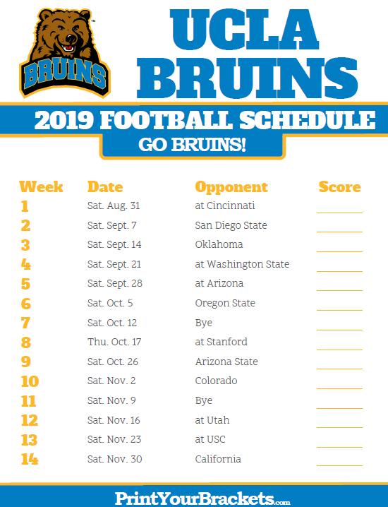 2019 Ucla Bruins Football Schedule Printable College Football
