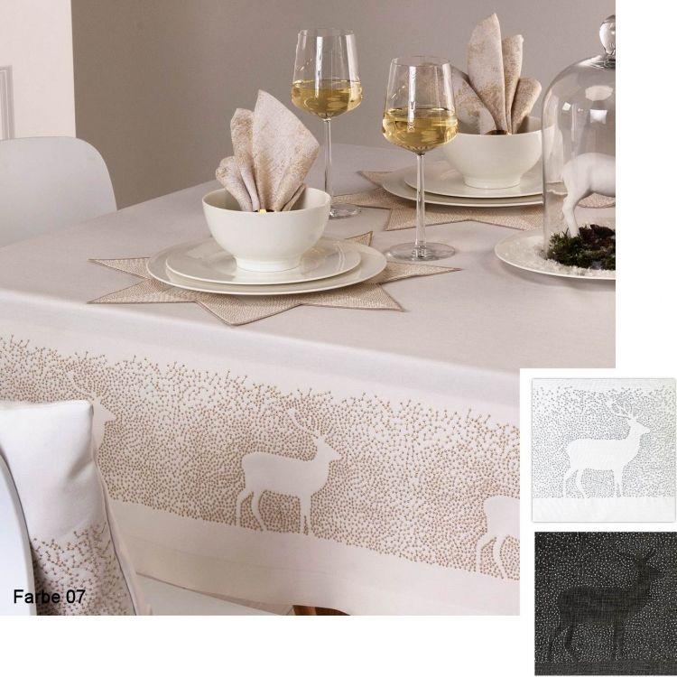 edle stickerei zu weihnachten die tischdecke schneegest ber im sander tischw sche onlineshop. Black Bedroom Furniture Sets. Home Design Ideas