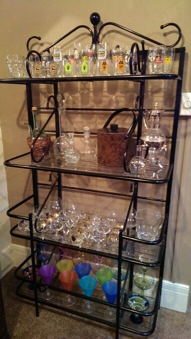 Repurposed Bakers Rack Made A Great Bar Accessory To My Home