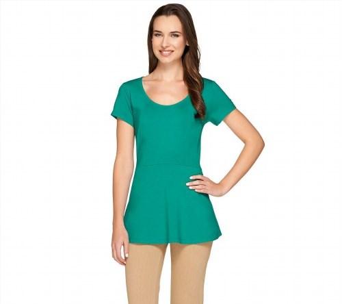 34.63$  Buy now - http://virzw.justgood.pw/vig/item.php?t=b12wgv857116 - Isaac Mizrahi Fashionable Short Slv Peplum Knit Top Teal Green XS NEW A265193