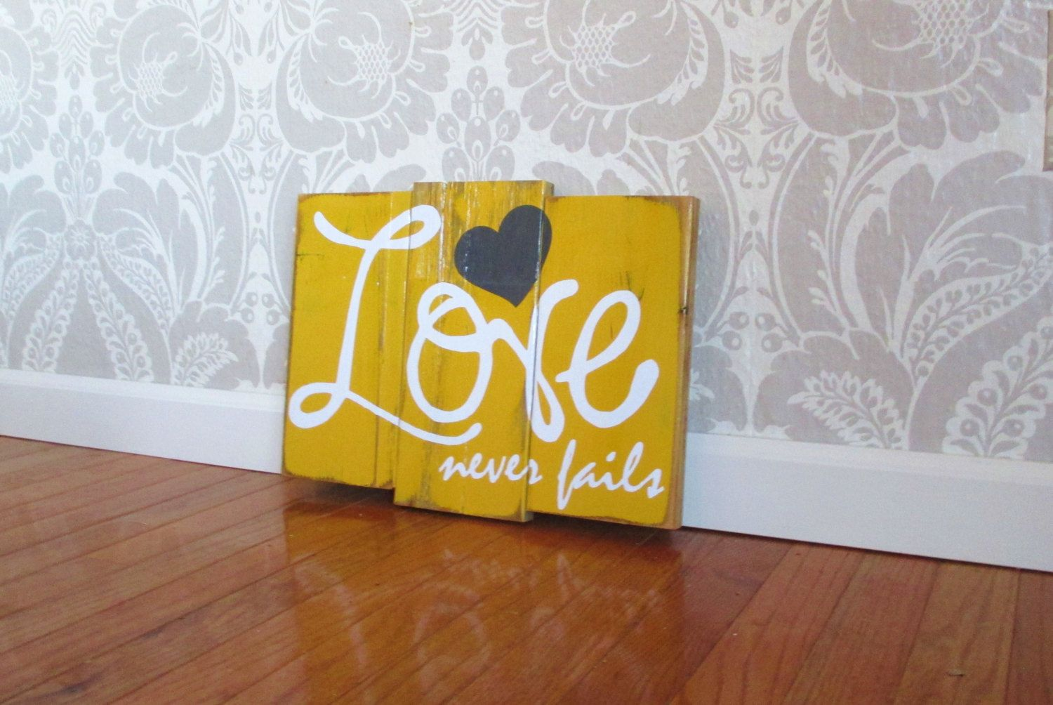 Love Never Fails Reclaimed Mustard and Charcoal Wooden Plank ...